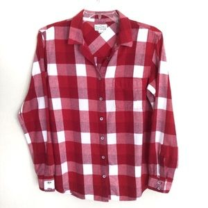 Madewell Flannel Plaid Button Shirt Red Small